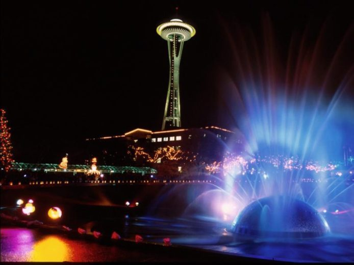 Carson  Fountain At Night